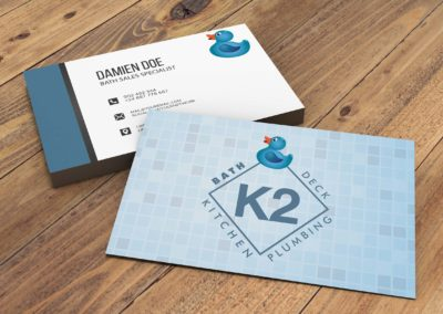 Not Really Rocket Science designed new business cards for K2 Bath